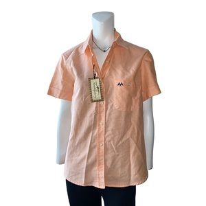 Thomas Burberry Coral Short Sleeve Button Up NWT